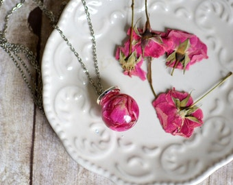 Mothers day gift rose necklace, real flower jewelry, flower necklace, romantic jewelry,  rose jewelry, rose petals flower girl gift