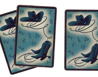 BOOTS & BRANDS in Blue (3) Vintage Single Swap Playing Cards Paper Ephemera Scrapbook Supplies