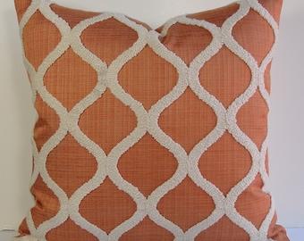 Decorative pillow cover Designer throw pillow tangerine rust ivory boucle textured pillow Geometric quatrefoil design - trellis lattice