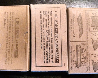 set of three vintage bandages in box Medical Supply Co