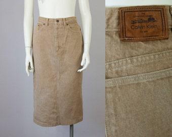 "80s Vintage CALVIN KLEIN High Waisted Tan Washed Denim Midi Skirt (M; 28"" Waist)"
