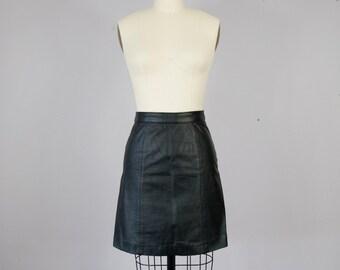 """1980s Vintage Black Leather High Waist Mini Skirt (S, 25"""" Waist)"""