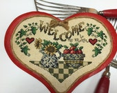 Kitchen Sampler, Complete Cross Stitch, Hand Embroidered Welcome Sign, Metal, Magnetic