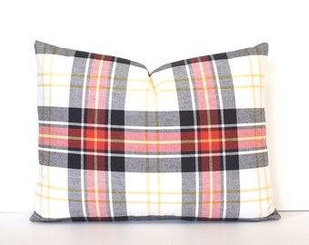 Plaid Tartan Decorative Designer Lumbar Pillow red black Accent Throw Cushion Cover Rustic Modern farmhouse christmas holiday winter White