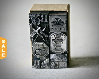 August is Letterpress Month - 20% off Assorted Letterpress Dingbats or Ornaments for Decor Printing and Stamping