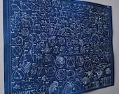 Geometric Formulas Cyanotype Print Minimal Art Original Print
