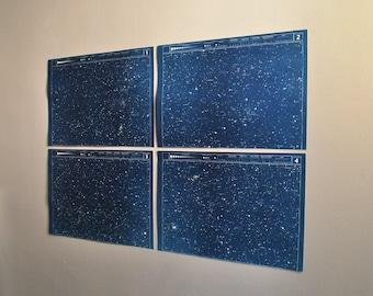 star maps star charts cyanotype blueprints