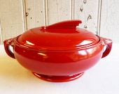 Vintage Red Hall China Sundial Covered Casserole - Art Deco Style - Chinese Red - 1930s