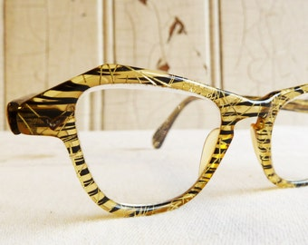Vintage Black and Yellow Tiger Striped Cat's Eye Glasses with Gold Thread Accent - Mid-Century Women's Eyeglasses