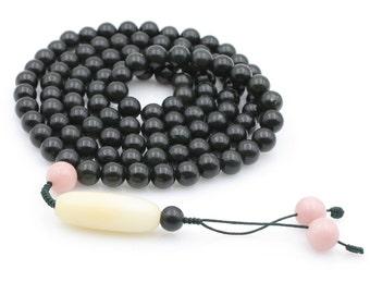 Tibetan 108 8mm x 8mm Jade Prayer Beads Rosary Beaded Mala Necklace  N108-QY007
