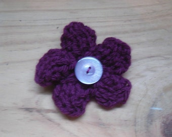 Dark Pink Flower Brooch, Flower Pin, Knitted Brooch