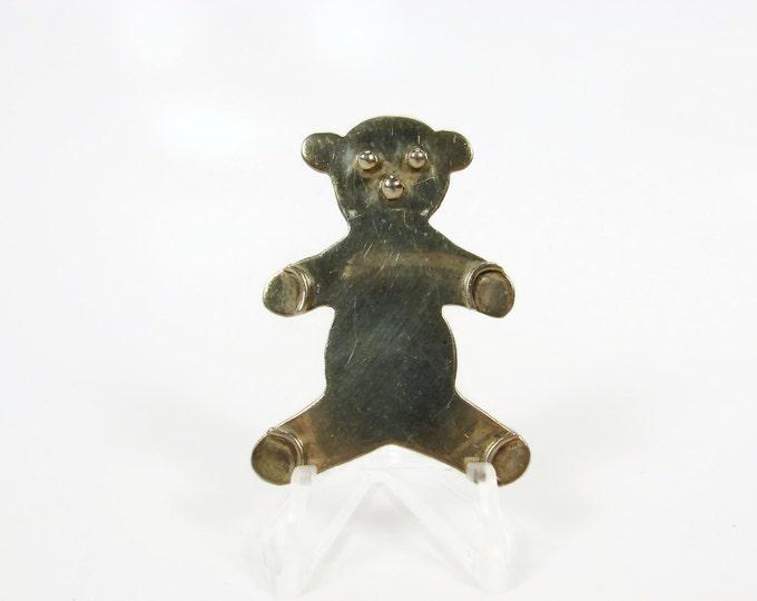 Vintage Sterling Silver Teddy Bear Brooch