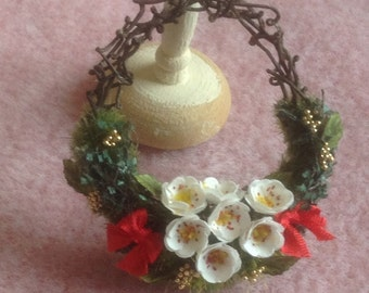 Pretty handmade dollhouse miniature Christmas wreath
