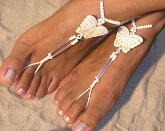barefoot sandals, destination wedding shoes, beach wedding shoes, bridal barefoot sandals, barefoot sandals boho The Butterflies HF115