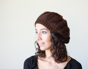 Brown Slouch Hat for women, Slouch beanie, Brown hat women, Brown beanie, Slouchy beanie, Winter slouch hat, Women Brown knit hat