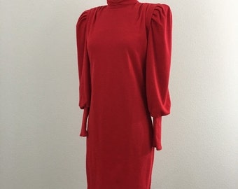 60% OFF Vintage 1980s Red Long Sleeve Knit Dress All That Jazz S/M (L)