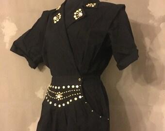 40% OFF Vintage 1980s Black Studded Rhinestone Short Sleeve Jumpsuit M