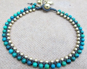Charm Anklet - Beaded Chrysocolla Ankle Bracelet with Elephant in Brass Bead.