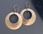 Hammered Bronze Hoop Earrings Round Dangle Earrings Modern Metal Jewelry Eighth / 8th Bronze Anniversary Jewelry by Seventh Willow