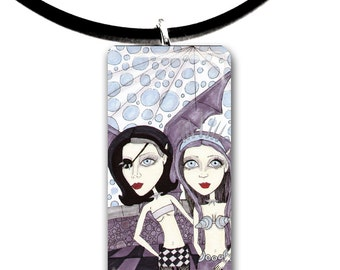 Gargoyle girls, Bad girls, Rocker chicks, glass tile pendant, handmade, trouble,
