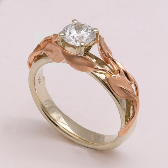 Two Tone Leaves Engagement Ring 14K White and Rose Gold