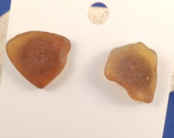 Amber beach glass from Lake Erie stud post earrings, silver tone butterfly backs