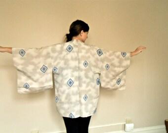 Vintage Kimono Tie Dye Robe Gray White Grey Blue Handmade