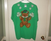 St Patrick's Day T-Shirt Size Large Green Top of the Morning Shamrock Bear