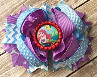NEW ITEM Boutique Baby Girls Layered Ariel Little Mermaid Hair Bow Clip Ariel Hair Clip Disney Inspired Little Mermaid Hair Bow Clip