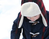 Red and Black Wool Bomber Hat - Toddler Boy's Bomber Hat - Buffalo Check