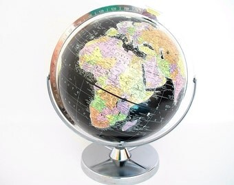 Vintage World Globe - Cold War Eames Retro - Replogle Black Oceans - Mint