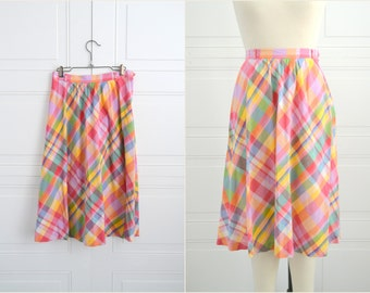 1980s Bright Plaid Cotton A-Line Skirt