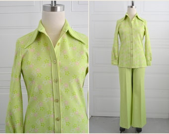 1970s Greggs Girl Green Floral Shirt and Pants