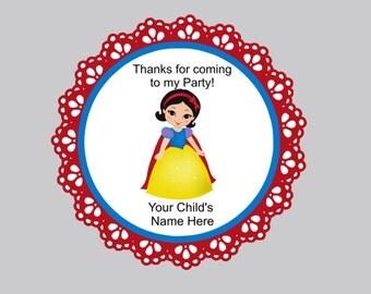 Set of 16 Princess favor tags snow white tags personalized princess tags favor tags bag tags thank you tags