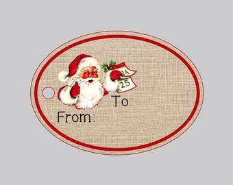 Set of 8 Christmas tags, holiday gift tags, santa claus gift tags, santa claus holiday tags, personalized christmas tags,