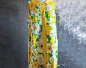 Vintage Green and Yellow Floral Sleeveless Shift Dress - Size Large, with Original Tags!
