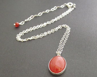 Gemstone Choker, sterling silver, simple necklace, carnelian pendant, red stone pendant, short necklace