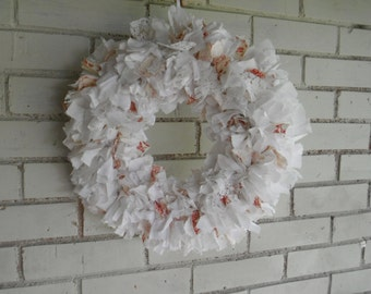 white and toile wreath french country wreath shabby decor holiday decor fall decor lace wreath cottage decor door wreath wedding decor 15in