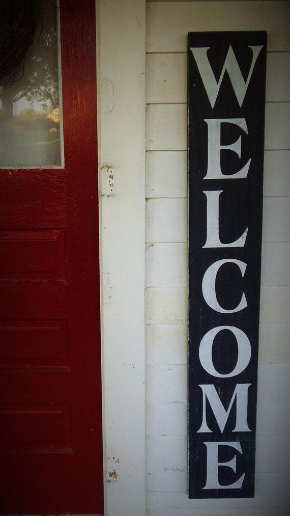Huge Large Vertical Wooden Welcome Sign Front Door Sign