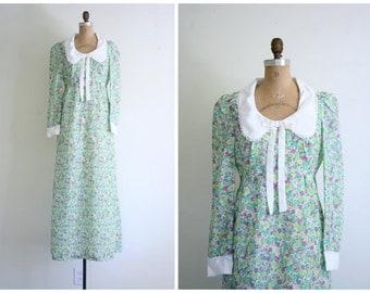 1960s English floral print maxi dress - vintage 60s solly dress / peter pan collar & bow - sweet kawaii / 70s print dress - never worn