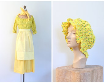 1970s Colonial Williamsburg yellow calico costume - handmade 70s costume / dress pinafore aprons mop cap scarves / ladies xs - girl's large