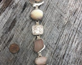 Sterling Beach bracelet with bezel set Beach stone, glass, shell and pottery!