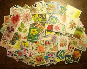 Flower Stamps - Lot of 100 Postage Stamps Featuring Flowers - Worldwide - Vintage to Modern