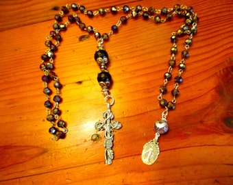 Czech AMETHYST & STERLING Rosary Chain w/Ornate Sterling Embossed CROSS, Genuine Amethyst Large Rounds and Vintage Mary Medal Necklace