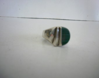 Vintage Mexico Sterling Silver 925 Ring Malachite Ring Taxco Ring Man Ring Signed Ring