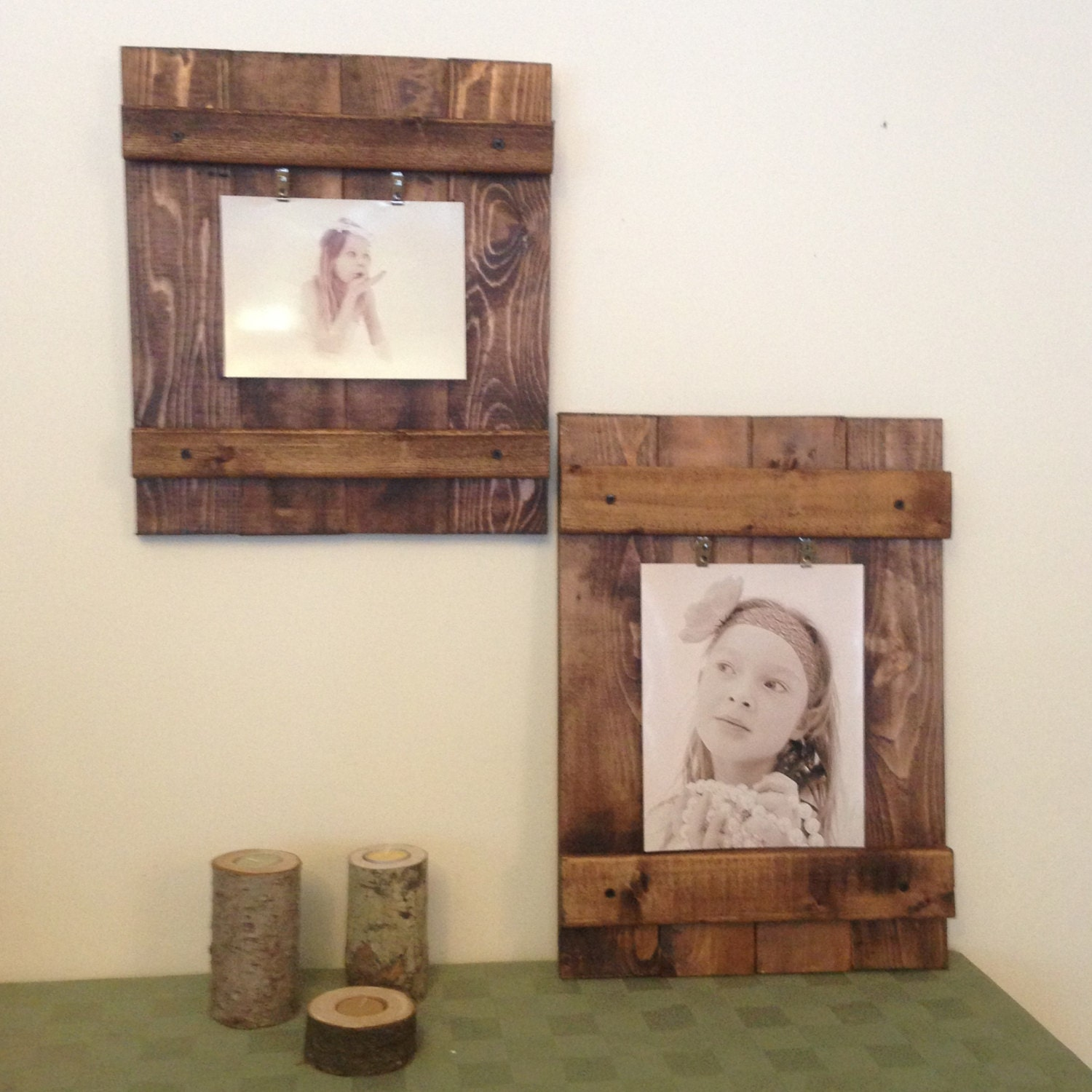 Rustic picture frame wall decor wood frame distressed for Rustic wood wall art