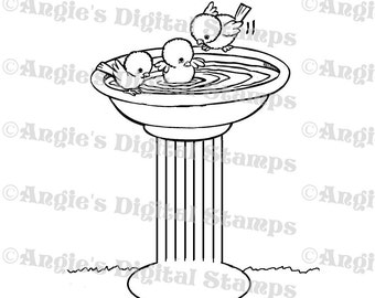 Birds in Birdbath Digital Stamp Image
