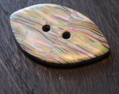 Polymer Clay Button Large Blue Purple Green and Gold