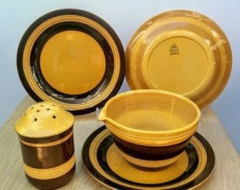 SALE T.G. Green Gresley Repton Stripe Mixing Bowl, Plates & Sugar Caster. 1960s English Pottery. Cornishware
