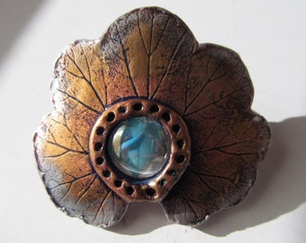 Barrette Hair Clip Real Leaf Impression in Clay with Blue Glass Bead on Medium French Clip in Gold Copper and Silver Colors